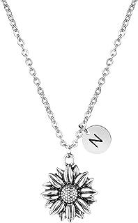 Joycuff 向日葵项链精致字母珠宝银雏菊花吊坠个性化字母组合励志礼物,适合女士、女儿、姐妹、妻子、*好的朋友