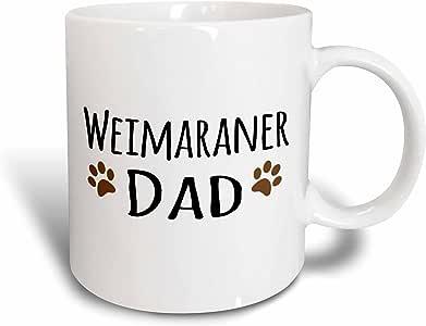 3dRose Weimaraner Dog Dad, Doggie by Breed, Muddy Brown Paw Prints, Ceramic Mug, 11-Oz