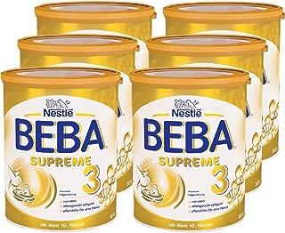 Nestlé BEBA雀巢貝巴 SUPREME 3段嬰兒后續奶粉:適合10個月以上嬰幼兒 即沖即飲 富含水解蛋白, 6罐裝 (6 x 800g)(不含助溶劑,沖泡需用力搖,沖后有結晶非品質問題,請放心食用)