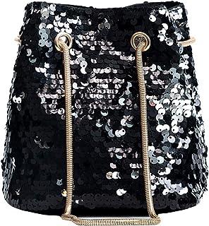 Heidi 女式女孩时尚亮片斜挎包单肩包魅力抽绳桶包手提包