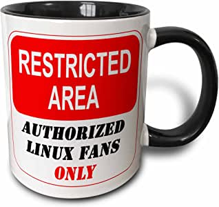 3dRose ToryAnne 系列标志 - 受限区域*的 Linux 粉丝*标志 - 马克杯 黑色 11oz