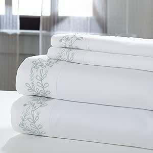 Amrapur 海外床单套装 白色/鼠尾草色 King 11000LFE-WHS-KG