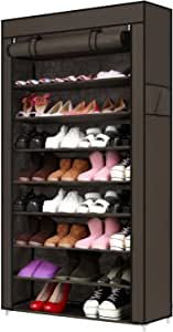 10 Tiers Shoe Rack with Cover 45 Pairs Shoe Storage Cabinet Organizer Portable Shoe Tower Rack Shelf, 34.3 x 10.9 x 62.4inch (Coffee)