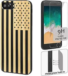 """适用于 iPhone 8 7 6 和 PLus 的黑白木手机壳,带屏幕保护膜 Black Flag iPhone 8+/7+/6+ 5.5"""""""