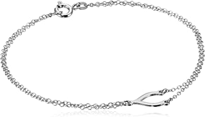 "Amazon Collection 美国亚马逊自有品牌 纯银 Y形双层锁骨 女士手链 7.5"" (约19厘米)"