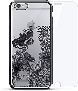 镀铬系列 360 套装:设计师手机壳 + 钢化玻璃 适用于 iPhone 6/6s PlusLUX-I6PLCRM360-MERMAID2 PAISLEY MERMAID 银色
