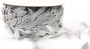 叶花环装饰,30 码卷,制作工艺和剪贴簿的理想选择 金属银 1英寸 Leaf 30