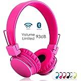 sodee 蓝牙无线/有线立体声 over-ear 高清耳机可折叠耳机带 SD 卡 FM 收音机 in-line 音量控制麦克风音乐儿童和成人 粉色