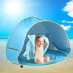 R • HORSE 婴儿泳池帐篷婴儿沙滩帐篷,带泳池和荧光腕带 50+UPF 紫外线防护太阳收容所 0-3 岁儿童
