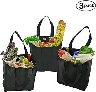 Simple Ecology 有机棉豪华可重复使用的杂货购物袋,带瓶套(重型、可洗、耐用的手柄、可折叠、工艺和礼品袋、6 瓶*袋袋) 黑色 - 3 件装 1