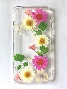 Shopping_Shop2000 手工天然雏菊花卉真实干花 TPU 凝胶透明橡胶皮硅胶保护塑料软背手机壳兼容 iPhone X #41