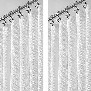 mDesign Stall 尺寸轻质华夫格编织 涤纶浴帘 加强型扣眼浴缸 - 优雅编织几何钻石图案 - 137.16 cm x 198.12 cm,2 件装,白色