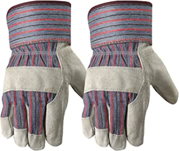Wells Lamont Leather Work Gloves with Safety Cuff, Suede Palm, 2 Pair Pack, One Size (4006N-WNW)