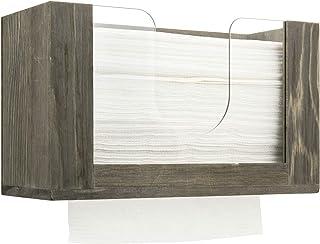 MyGift 复古灰色实木透明亚克力商用桌面或壁挂式折叠纸巾架分配器