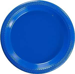 精致的塑料点心盘/沙拉盘 - 纯色一次性盘子 - 50 个. 深蓝色 7 Inch. 6313523