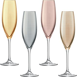 LSA 国际金属波尔卡香槟色长笛(4 只装),7.6 液 Oz, 各种