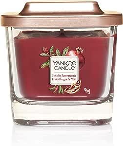 Yankee 蜡烛高架系列带防水台盖 Holiday Pomegranate Small 1-Wick Square Candle 1591117E