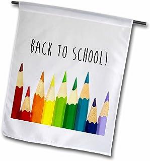 """3drose carsten reisinger illustrations–插图–BACK TO School 彩色铅笔–旗帜 12"""" x 18"""""""