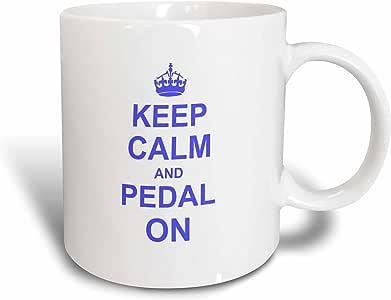 3dRose InspirationzStore 排版 - Keep Calm and Pedal on on - 蓝色 - 激励骑自行车自行车骑行自行车手 - 马克杯 陶瓷 15盎司 mug_157646_2