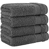 奢华酒店和水疗品质,* 环纺真棉,United Home Textile 的*大柔软度和吸水性 炭灰色 Washcloth Set - 4 Pack