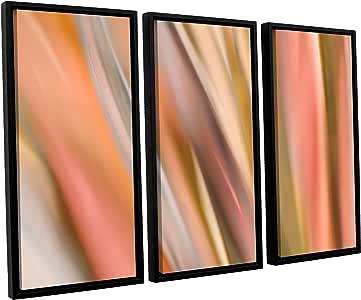 ArtWall 3 件套 Cora Niele's Abstract Barcode Floater 镶框油画艺术品 粉红色 24X36 0nie001c2436f