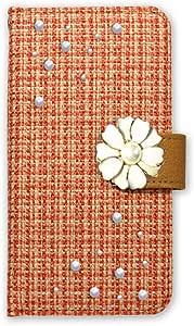 白色坚果 ツィード 装饰手机保护壳翻盖式 橙色 2_ Xperia XZ 601SO Sony