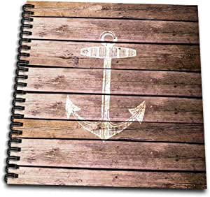 """3dRose db_120205_3 White Anchor Stamp on Wood Texture Graphic Print Not Actually Wooden Brown Grunge Nautical Theme Mini Notepad, 4 by 4"""""""