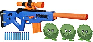 NERF Fortnite BASR-R 螺栓式玩具枪 -- 包括 3 个灌木靶子,可拆卸瞄准镜,可拆卸 6 发弹夹,6 个官方精英软头弹