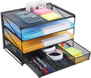 Veesun 纸信纸托盘收纳袋,网状办公桌文件收纳袋,3层搁板分类架,带抽屉,黑色