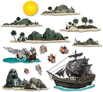 海盗船和岛道道具派对配件(1 件)(14/包)
