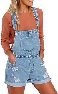 LookbookStore 女式破洞牛仔布背带工装短裤 原下摆 短裤 牛仔裤  天蓝色 Large