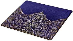"Lunarable Moroccan 砧板,民族彩色波西米亚图案淡色抽象花华丽,装饰钢化玻璃切割和上菜板,蓝品红 Multi 35 15.5"" X 11.5"" bcut_44301"