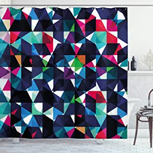 Geometric Shower Curtain by Ambesonne, Retro Pattern with Colorful Mosaic Modern Optical Artistic Structure Illustration, Fabric Bathroom Decor Set with Hooks, 84 Inches Extra Long, Multicolor