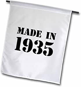 InspirationzStore Typography - Made in 1935 - funny birthday birth year text - fun black bday stamp with year you were born - humor - Flags 12 x 18 inch Garden Flag