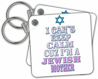 3dRose RinaPiro - 犹太语录 - I cant keep calm because Im a Jewish Mother。 趣味谚语。 Love Israel - 钥匙链