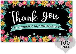 感谢您支持我的小名片 5.08cm x 8.89cm 优雅设计 花卉(黑色)