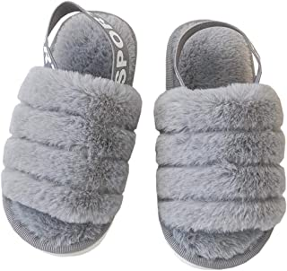DADAWEN 儿童女孩柔软毛绒毛绒拖鞋一脚蹬舒适露趾室内户外温暖舒适家居拖鞋