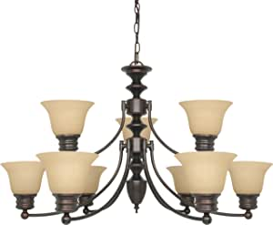 Nuvo Lighting 60/3131 Empire 9-Light 2-Tier Chandelier with Champagne Glass, Mahogany Bronze 需配变压器