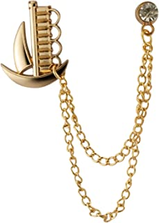 Knighthood 金船 带金色链和施华洛世奇细节胸针