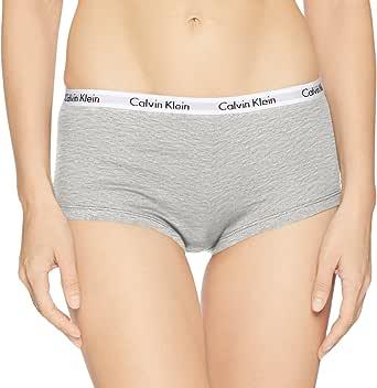 Calvin Klein 女士 Carousel 标志棉质平角内裤,麻灰色,小号