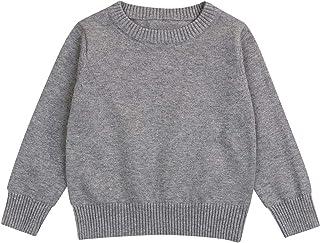 男婴女孩棉质套头毛衣上衣儿童秋冬针织毛衣纯色套装 1-5T