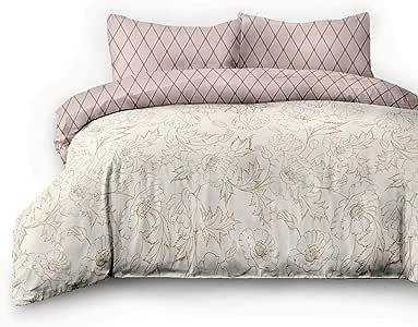 AmeliaHome 精细厚绒布 床上用品 * 棉花 几何图案被套 拉链 Snuggy系列 Art Nouveau 奶油卡布奇诺色 Art Nouveau 2*135x200 + 2*80x80 6174