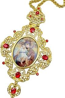 Nazareth Store 阴道十字架圣母玛利亚和耶稣图标吊坠水晶红宝石基督教教牧师耶稣受难吊坠项链 24 英寸(约 60.9 厘米)礼品盒