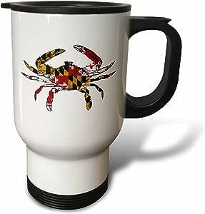 3dRose tm_193242_1 Maryland Crab Flag, Travel Mug, 14-Ounce, Stainless Steel