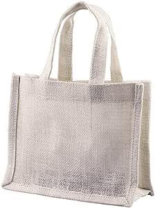 小号 * 天然黄麻麻布礼品袋,带手柄,可用于装饰 白色