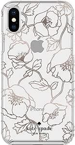 KATE SPADE NEW YORK 手机保护套适用于 iphone X Multi Dreamy Floral Rose Gold with Gems