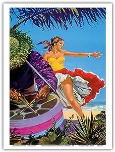 """太平洋岛屿艺术加勒比 - 本地鼓手和舞者 - 英国海外航空公司,BOAC - 复古航空旅行海报 c.1960s - 艺术大师印刷 9"""" x 12"""" PRTA3253"""