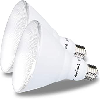 AmeriLuck PAR20 LED 灯泡,可调光聚光灯 40 英寸光束角,500 流明,相当于 7 瓦,50 瓦,CRI 80+,UL 认证,玻璃滤光器,额定功率 5000K|daylight PAR38 2 Pack AB-PAR38D0-1350