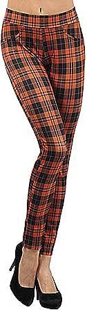 D&K Monarchy 女式全长打底裤 橙色/格子呢 Small/Medium
