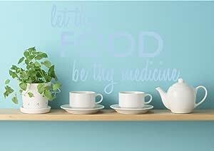 "Let Thy Food Be Thy Medicine 语录墙贴 可移除乙烯基家居装饰语录 粉蓝色 17"" (H) X 25"" (W) 1675-WALL-01-20"